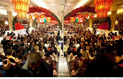 All the crazy: Macy's flagship store in New York minutes after their midnight opening!