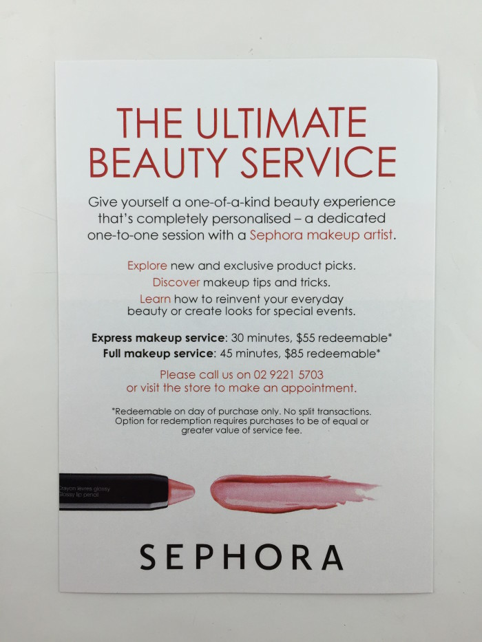 Sephora Sydney In Store Beauty Services