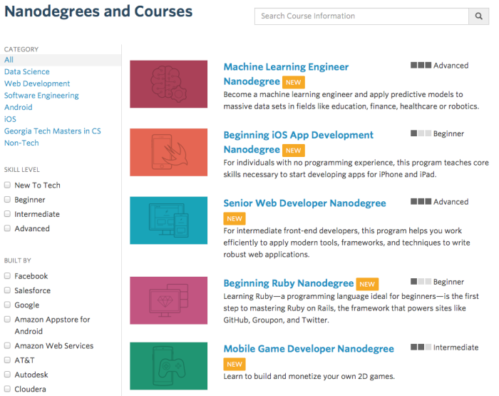 UDACITY Course Catalogue