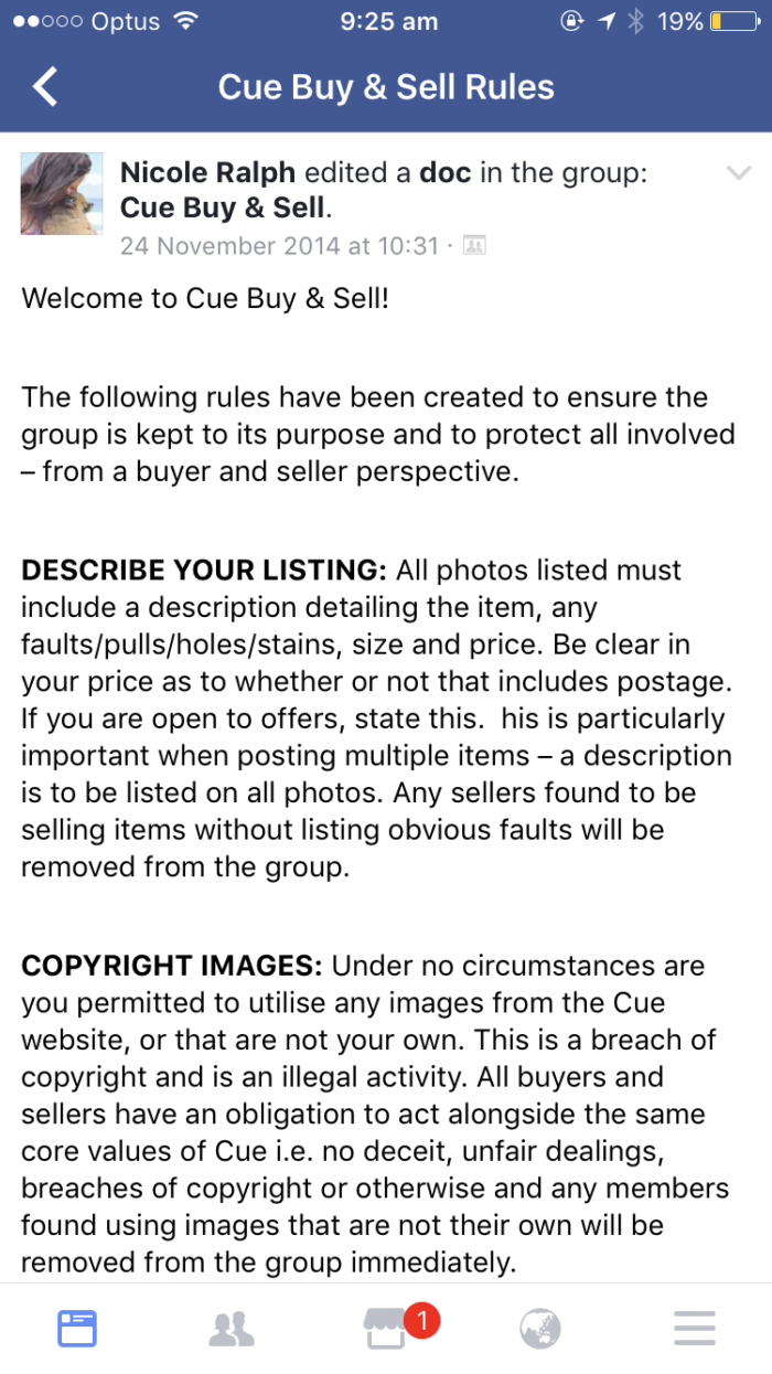 Facebook buy swap sell rules